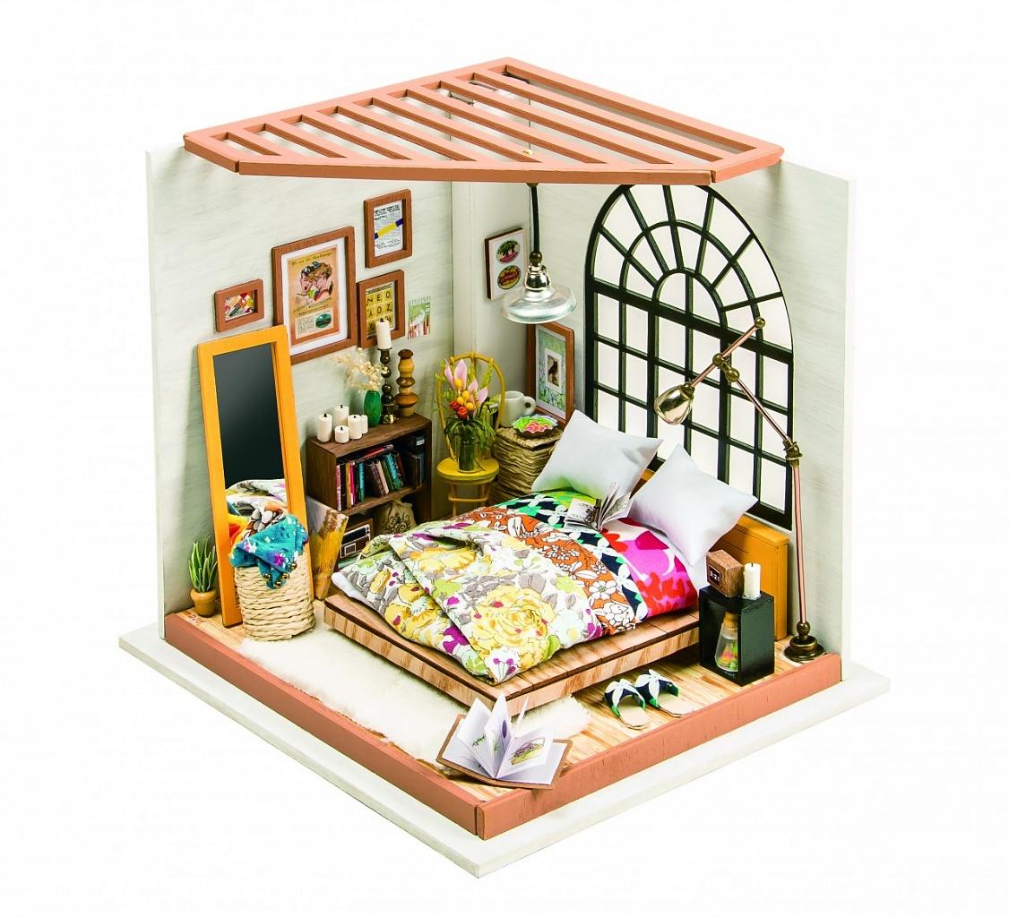 Купить Румбокс DIY HOUSE DG107 Спальня, пластмасса, Дерево, Бумага, Картон, Металл, Текстиль, батарейки, Сборные игрушечные модели