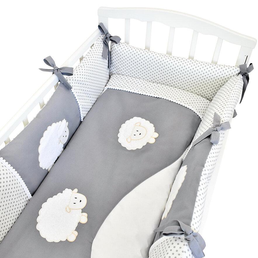Купить АЛЬМА-НЯНЯ Комплект в кроватку Овечка , 6 предметов (цвет: белый) [УТ0010040], Альма-няня, поплин, Постельное белье для малышей