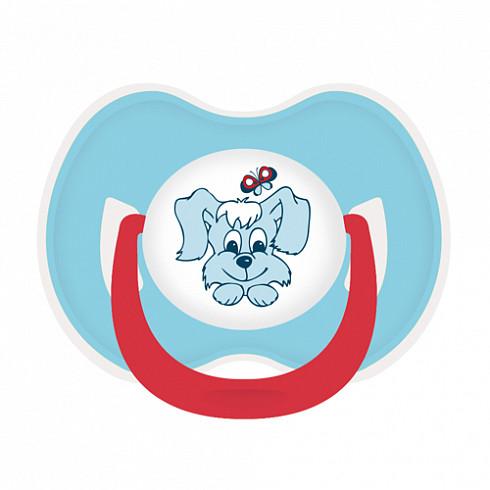 Купить LUBBY Соска-пустышка латексная Веселые животные , с 0 месяцев, симметричный сосок, кольцо, цвет голубой [11399/144/12], полипропилен, латекс, Пустышки и аксессуары