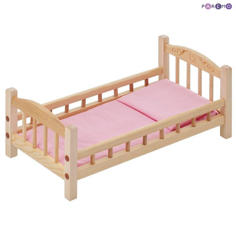 Купить PAREMO Классическая кроватка для кукол, розовый текстиль [PFD116], 23 x 23 x 48 см, Дерево, Текстиль, Мебель для кукол