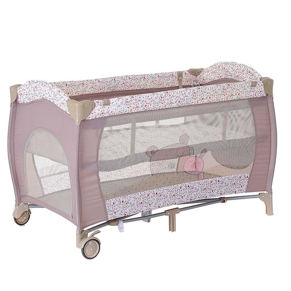 Купить P613LB, PITUSO Манеж-кровать GRANADA ДРУЖБА 2-уровневый на молнии лаз пласт кольца 4шт, 2 колеса 120*60*, Китай, Манежи для малышей