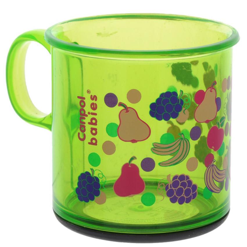 Купить CANPOL Пластиковая кружка Фрукты с антискользящим дном, цвет: зеленый, 170 мл [250930115], пластик, Посуда для малышей