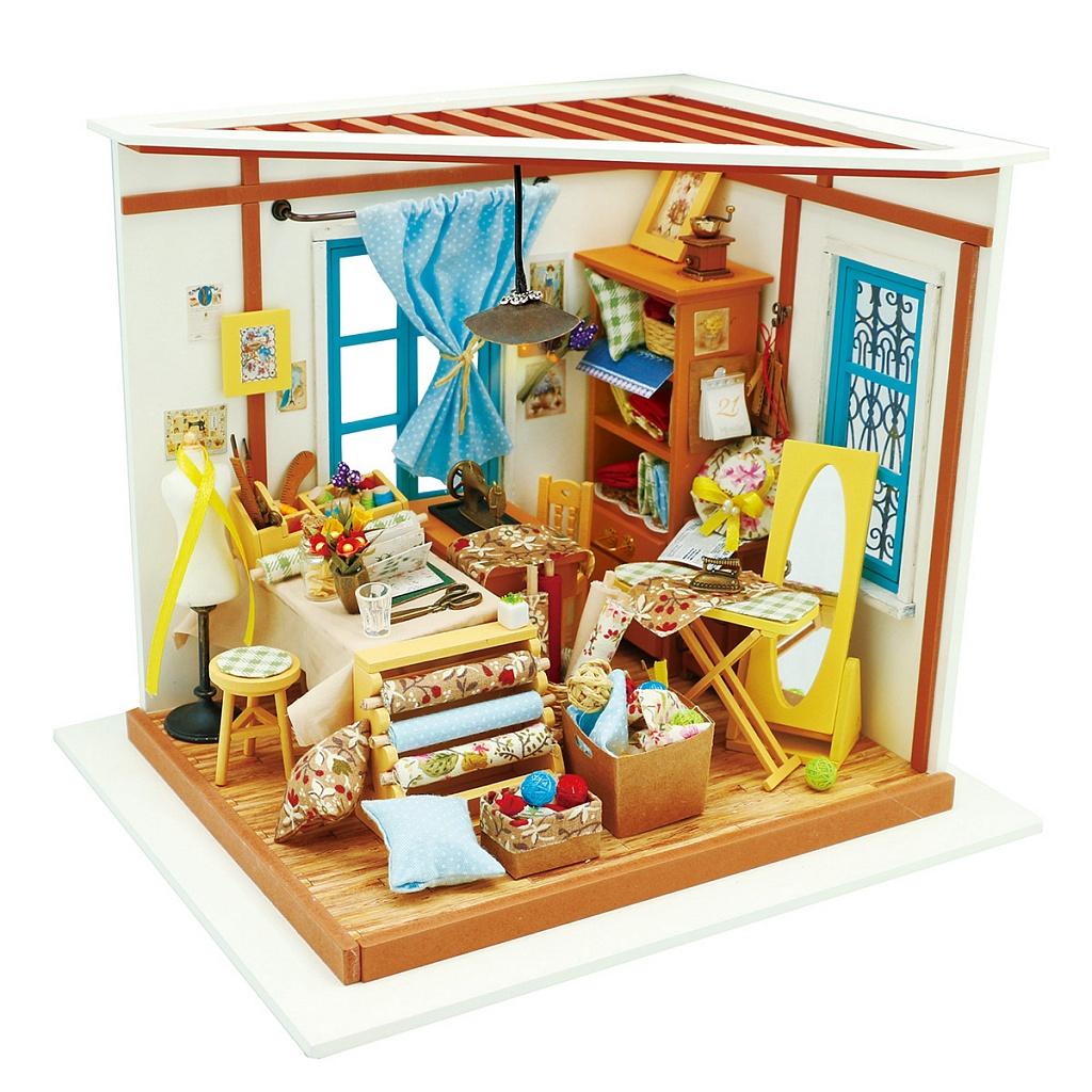 Купить Румбокс DIY HOUSE DG101 Ателье, пластмасса, Дерево, Бумага, Картон, Металл, Текстиль, батарейки, Сборные игрушечные модели
