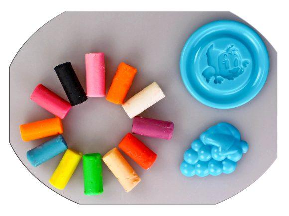 Купить COLOR PUPPY Тесто для лепки: 12 цветов, 80г, формочка, ролик [63772], Пластилин и масса для лепки