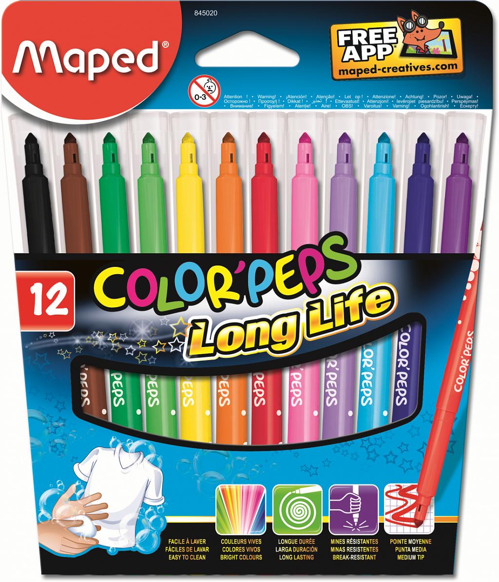 Купить Фломастеры MAPED 845020 COLOR'PEPS 12 шт, Для мальчиков и девочек, Китай, Детские товары