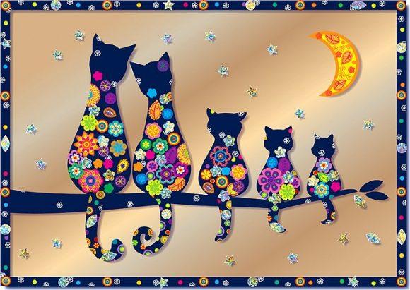 Купить КЛЕВЕР Набор для изготовления картины Клевер Семья котов , 21x29, 6 см, арт. АС 43-233 [АС 43-233], Наборы для создания украшений