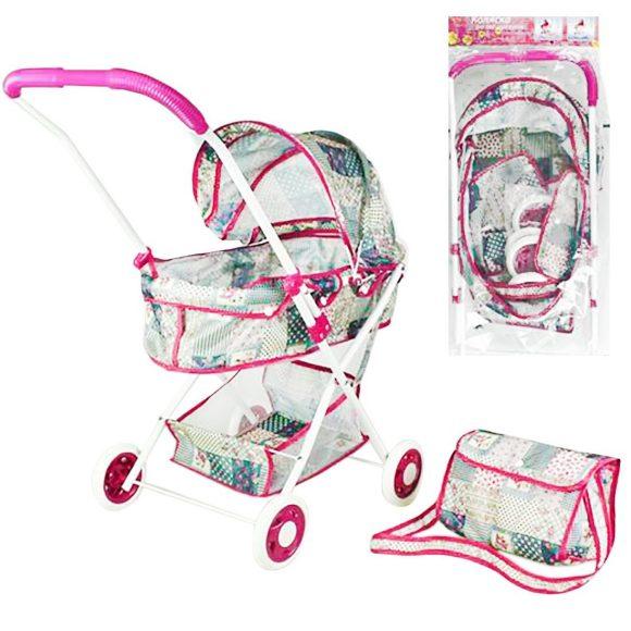 Купить НАША ИГРУШКА Коляска-люлька Пэчворк с корзиной и сумкой, металл [M7535-3], Наша игрушка, Металл, Коляски для кукол