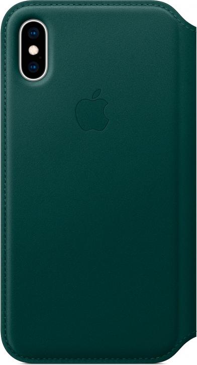 Чехол Apple Leather Folio для iPhone XS, «зелёный лес», MRWY2ZM/A, книжка, зеленый, Китай  - купить со скидкой