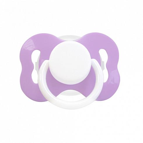 Купить LUBBY Соска-пустышка латексная Цветочек , с 0 месяцев, скошенный сосок, кольцо, колпачок, цвет фиолетовый [11396/144/24], полипропилен, латекс, Пустышки и аксессуары