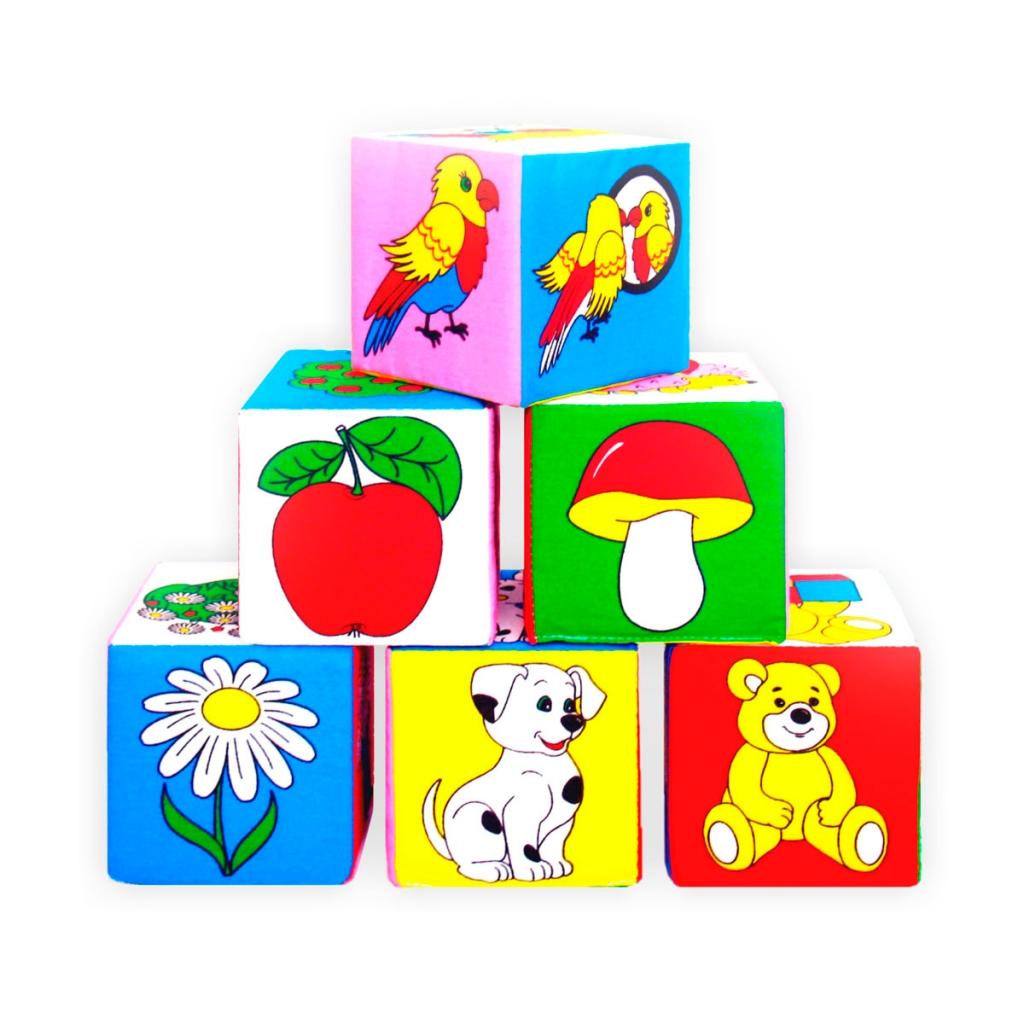 Купить Кубики МЯКИШИ 001 Предметы, Мякиши, 100% х/б ткань, Для мальчиков и девочек, Россия, Кубики для малышей