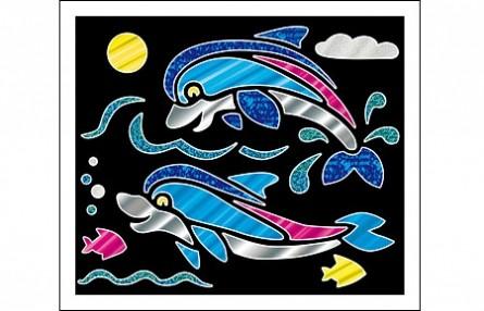 Купить РЫЖИЙ КОТ Аппликация фольгой Дельфины , 19х22 см [А-8679], Рыжий кот, Картон, Товары для создания аппликаций