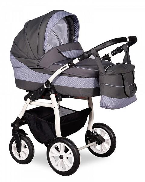 Купить INDIGO Коляска 2-в-1 Indigo Sydney 17 (цвет: серый, светло-серый узор) [УТ0008043], пластик, Металл, ткань, Детские коляски
