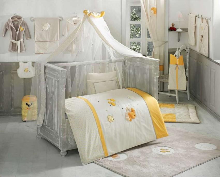 Купить KIDBOO Комплект постельного белья Butterfly (3 предмета) [00-0012149], Желтый, белый, Хлопок, Для мальчиков и девочек, Постельное белье для малышей
