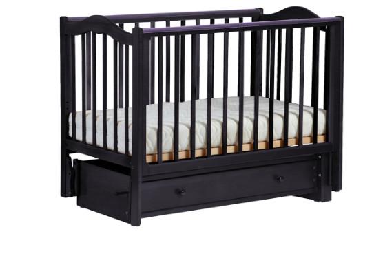 Купить КУБАНЬЛЕССТРОЙ Кровать детская Кубаночка-1 , с маятником (цвет: венге) [37], массив бука, Кроватки детские