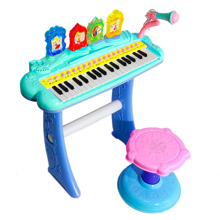 Картинка - Детский синтезатор со стульчиком (2269-207) бирюзовый, 37 клавиш