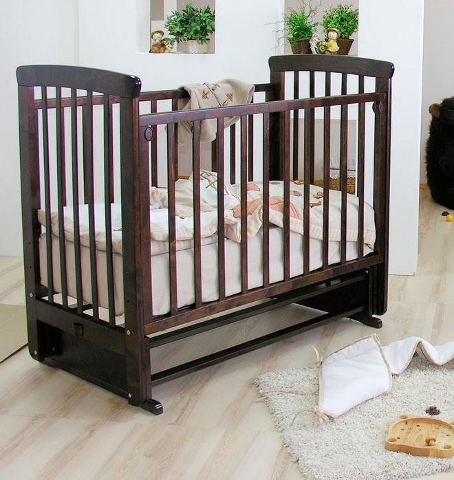 Купить МОЖГА Кровать детская Красная Звезда Марина С 702 (цвет: шоколад, резьба №15) [С 702 ЗН с/с], шоколадный, массив березы, Кроватки детские