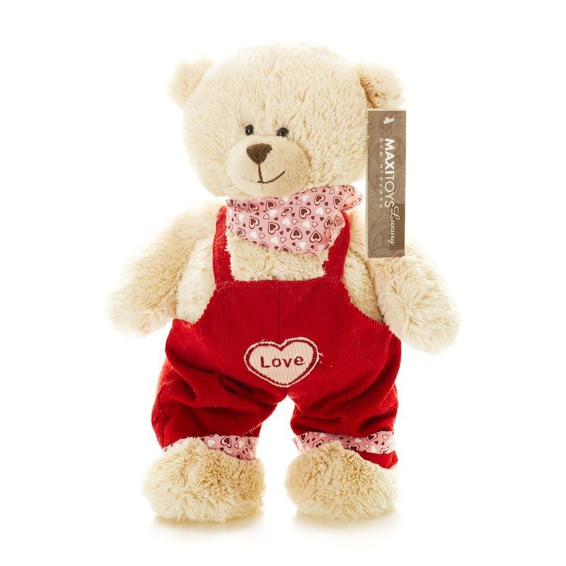 Купить Мягкая игрушка MAXITOYS TS-A6799-32B Мишка Лука в Штанишках 25 см, мех искусственный, полиэтиленовые гранулы, трикотажное волокно, полое полиэфирное волокно, фурнитура из пластмассы., Для мальчиков и девочек, Китай, Мягкие игрушки