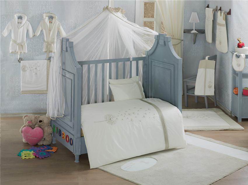 Купить KIDBOO Комплект постельного белья Blossom Linen Vanilla (3 предмета) [00-0012143], белый, Хлопок, Для мальчиков и девочек, Постельное белье для малышей