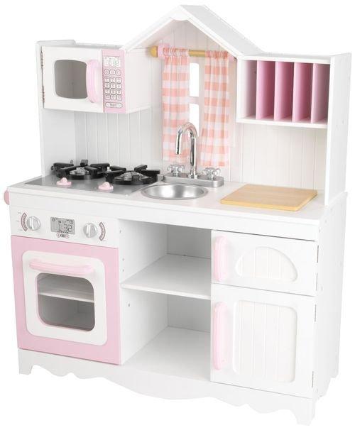 Купить KIDKRAFT Игровая кухня для девочки из дерева Модерн (Modern Country Kitchen) [53222_KE], 80 x 30 x 91 см, пластик, Дерево, Текстиль, МДФ, Детские кухни и бытовая техника