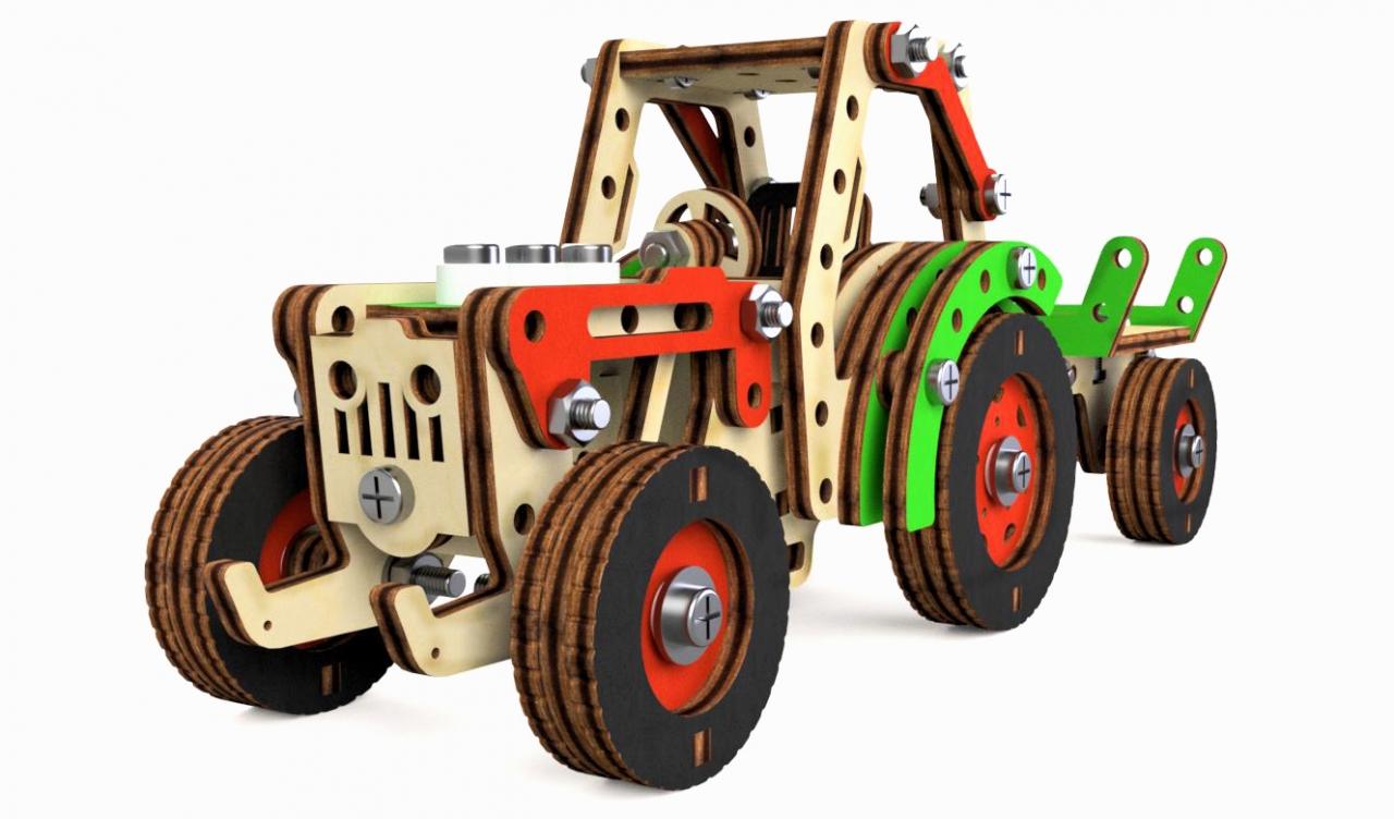 Купить Конструктор M-WOOD MW-3004 Трактор-фермер, Березовая фанера, Для мальчиков и девочек, Россия, Конструкторы