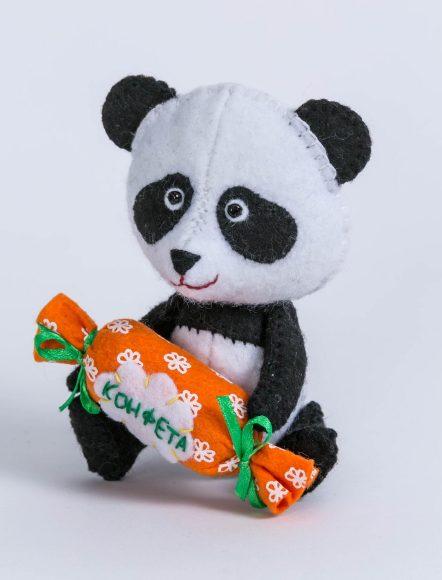 Купить ПЕРЛОВКА Набор для изготовления текстильной игрушки Панда [ПФД-1057], пластик, Текстиль, фетр, Товары для изготовления кукол и игрушек