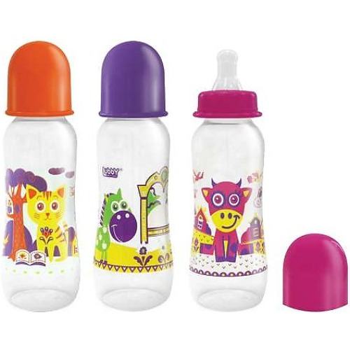 Купить LUBBY Бутылочка Lubby Русские мотивы , с силиконовой соской и талией, 0+, 240-250 мл [12019/144/12], пластик, Бутылочки и ниблеры для малышей
