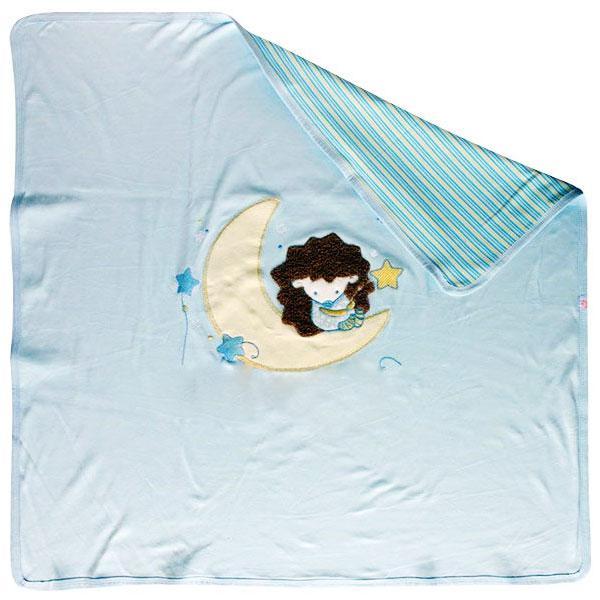 Купить 12351472, LITTLE PEOPLE Плед трикотажный с аппликацией Ёжик Топа-Топ голубой, [30052], Покрывала, подушки, одеяла для малышей