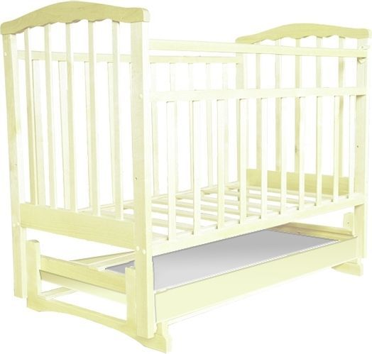 Купить АГАТ Кроватка детская Золушка-6 с продольным маятником и ящиком (цвет: слоновая кость) [УТ0001662], Бежевый, береза, Кроватки детские