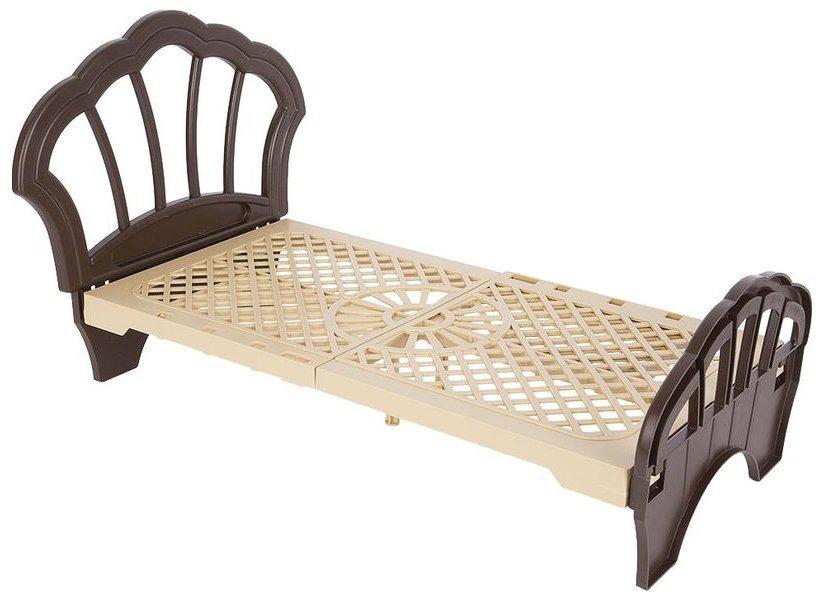 Купить С-112 коричневый, ОГОНЁК Кровать Лира (С-112) коричневая, Огонек, пластик, Россия, Мебель для кукол