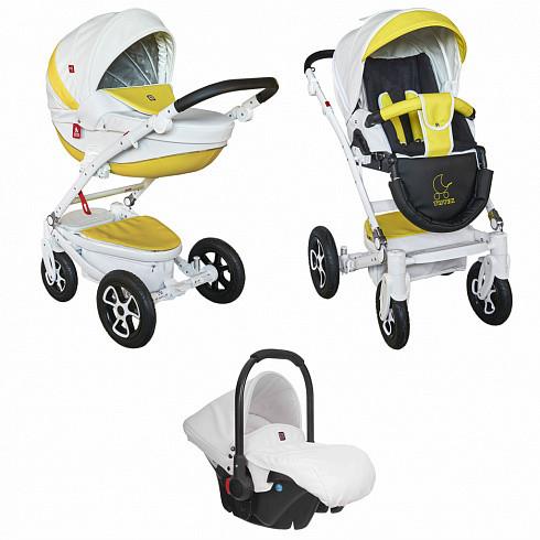 Купить TUTEK Детская коляска Timer ECO9B/B , 3 в 1, белый/желтый [УТ-0002454ECONTMECO9B/B], пластик, Металл, Текстиль, Детские коляски