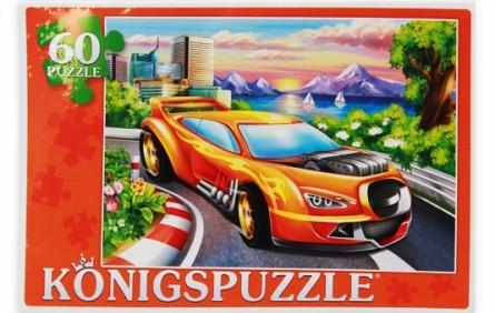 Купить KÖNIGSPUZZLE Пазлы Konigspuzzle. Гоночная машинка , 60 элементов [ПК60-9000/РК], Königspuzzle, Картон