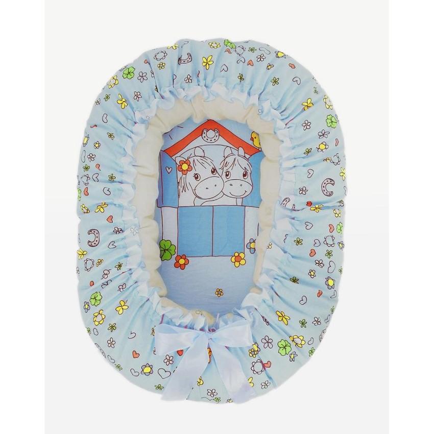 Купить ЗОЛОТОЙ ГУСЬ Подушка-валик-гнездо Лошадка (цвет: голубой) [8202], Текстиль, Для мальчиков, Покрывала, подушки, одеяла для малышей
